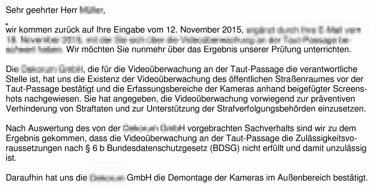 Post vom Berliner Landesbeauftragten für Datenschutz